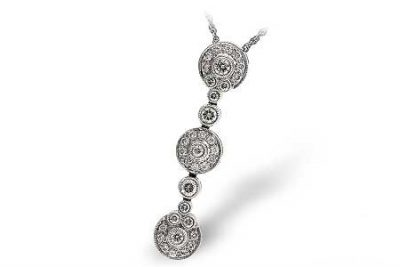 Drop Pendant with three circles of diamonds set vertically each separated by round diamond, all diamonds totaling .76ct 14k white gold 18 inch