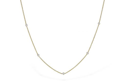 Station Style necklace with 9 round bezel set stations with diamond on each side, 18 diamonds in all totaling .25ct, GH Color, Si2 Clarity, 14k yellow gold, 18 inches