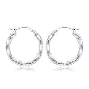 Sterling Silver medium scalloped hoop earrings with hinged posts