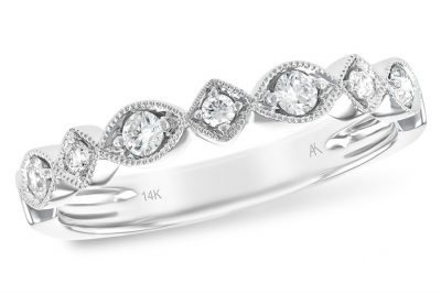 multi round diamond band each set into square or marquise shape of milgrain 14k white gold, all diamonds totaling .19ct, G Color, SI1/2 clarity