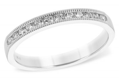 Milgrain Channel diamond band .25ct of round diamonds G Color I1 clarity, 14k white gold.