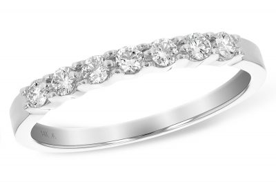 .25ct Illusion plate diamond band with 7 round diamonds in 14k white gold, H color VS2/SI2 diamonds