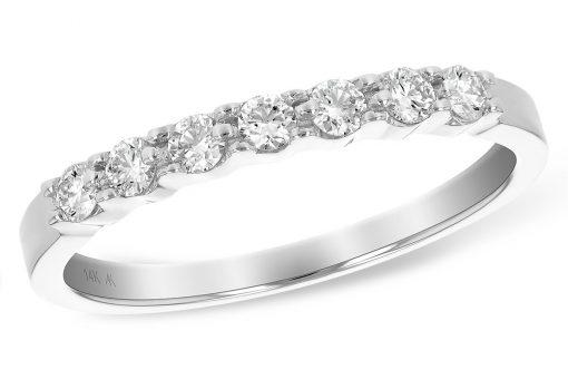 .25ct Illusion plate diamond band with 7 round diamonds in 14k white gold, H color VS2/SI2 diamonds
