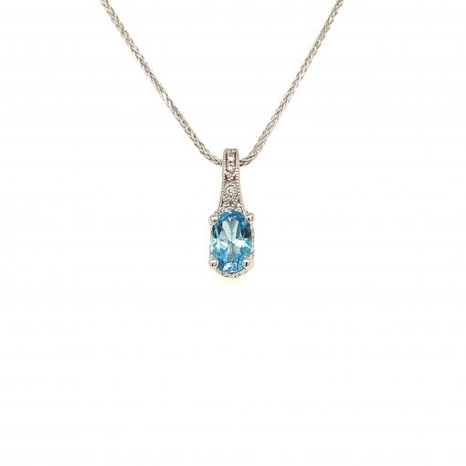 6x4mm Oval Blue Topaz vintage style pendant with diamond and milgrain bale and profile, diamonds all totaling .05ct GH SI2, 14k white gold on diamond cut 18 inch wheat chain