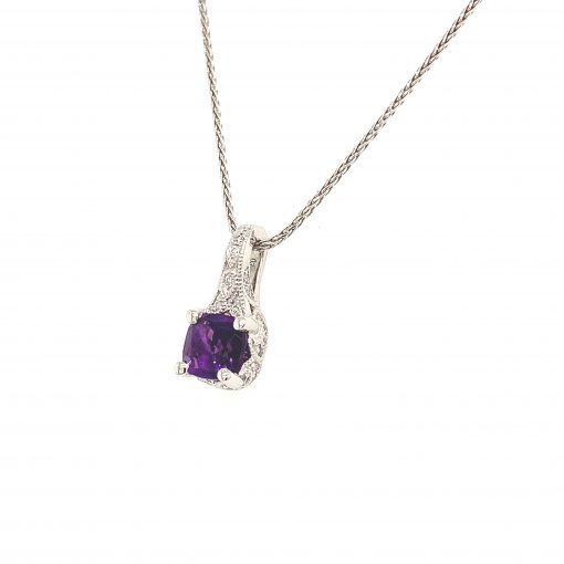 5mm Cushion Amethyst pendant with vintage style split bale, all diamonds totaling .06ct on 18 inch diamond cut wheat chain with lobster clasp, 14k white gold