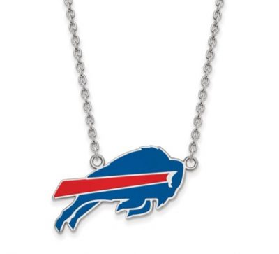Buffalo Bills Large Pendant on 18 inch Cable Chain - Sterling silver with Blue and Red Enamel with anti-tarnish rhodium plating