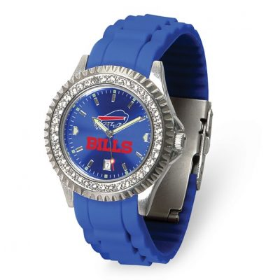Gametime Buffalo Bills Ladies Sparkle Watch- Date Blue Dial, Crystal Bezel, 7 inch Blue Strap -Free batteries for life