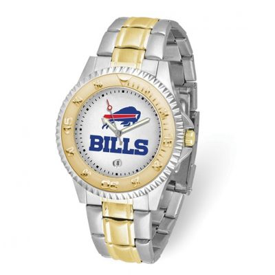 Gametime Mans Buffalo Bills Competitor Watch 7 Inch 2-Tone with Date. Free Batteries for Life