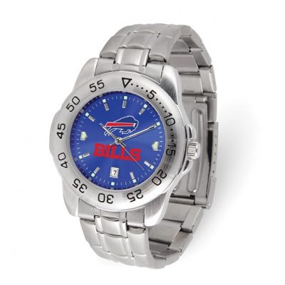 Gametime Buffalo Bills Sport Steel Watch Silver Tone 7 inch. Free Batteries for Life