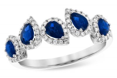 multi pear shape blue sapphire ring each with round accenting diamonds surrounding each sapphire, sapphires total .95ct, diamonds G SI1/2 totaling .24ct, 14k white gold
