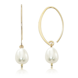 14k Yellow Gold Drop Earrings with Freshwater Pearl dangle on Looped wire