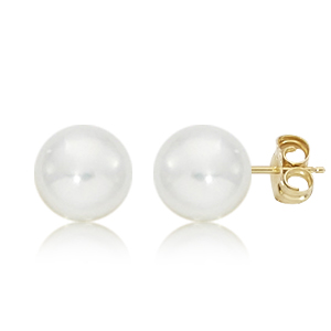 1/2 pair 8mm pearl earring and 14ky post