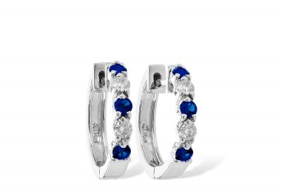 Sapphire and Diamond hoop earrings with 3 round sapphires and 2 round diamonds in each, all sapphires totaling .33ct and all diamonds totaling .19ct, H color, SI1 clarity, 14k white gold, hinged post
