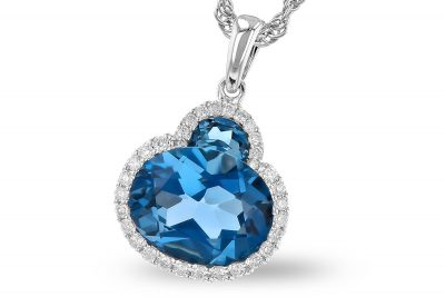 London Blue Topaz pendant with oval topaz below half moon topaz all lined with round accenting diamonds totaling .14ct, G Color Si1/SI2 clarity, 18 inch rope chain, 14k white gold, blue topaz stones totaling 2.86ct