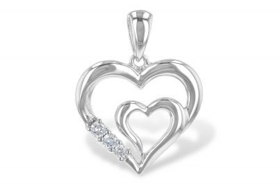 Double Heart 14k white gold pendant with 3 accenting diamonds all totaling .06ct, H/I Color I1 Clarity