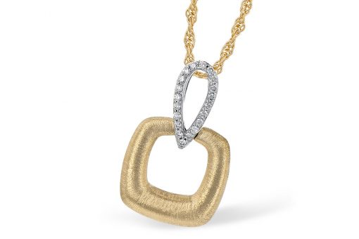 Two tone pendant with open puffed frosted square below open diamond lined upside-down teardrop bale on yellow gold 18 inch light rope chain with lobster clasp, all diamonds totaling .09ct G Color SI1/SI2 clarity