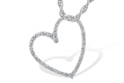 14k White Gold Open Diamond Heart Pendant .10ct G/H SI2 on a 14k White Gold Rope Chain with Lobster Clasp