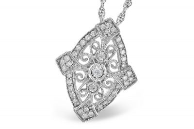 Vintage style marquise shape 14k white gold pendant with scrollwork throughout, all diamonds totaling .20ct G Color SI3 clarity on 18 inch light rope chain with lobster clasp