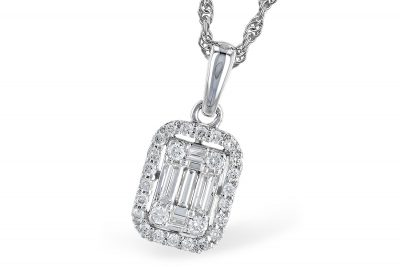 Rectangular diamond pendant with baguette diamonds set in the center and round accenting diamonds surrounding outside, all diamonds G Color SI3 Clarity and totaling .26ct on 18 inch light rope chain with lobster clasp, 14k white gold