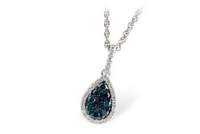 Pear cluster diamond pendant with round blue diamonds all totaling .26ct in the center and surrounded by round accenting G SI1 diamonds all totaling .16ct on 18 inch chain, 14k white gold