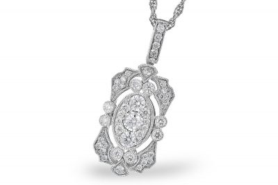 Two tone rectangular vintage style pendant with round accenting diamonds set throughout all totaling .50ct and are G Color SI3 clarity on 14k white gold light rope chain with lobster clasp