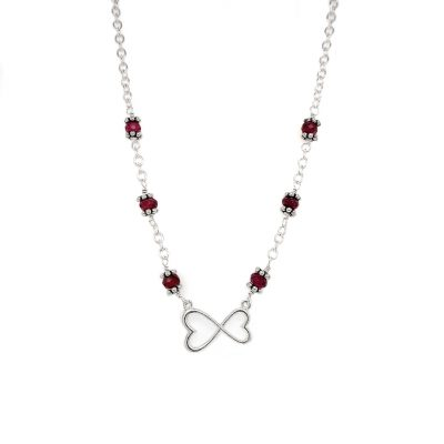 Necklace with infinity inspired heart center and eight 3.5-4mm Rhodalite Garnet accents, 16 inch 3mm rounded high polish sterling silver cable chain.