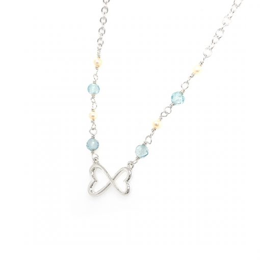 16 inch Blue topaz and freswhater pearl infinity inspired heart center necklace, four 4mm blue topaz beads and four 2.5mm freshwater pearls at the center, sterling silver