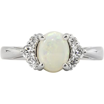 Opal ring, diamonds, 14k white gold