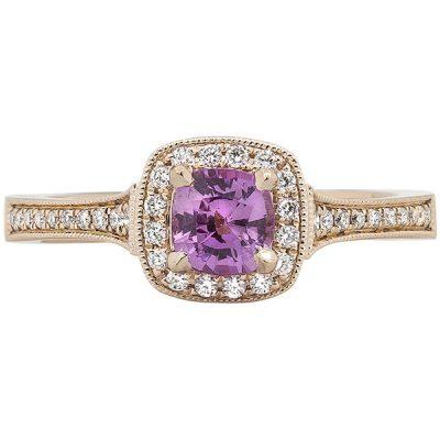 Pink Sapphire Ring, 14k Rose Gold, Diamonds