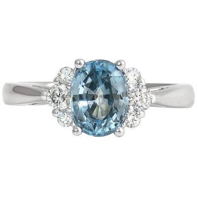 Blue Zircon, Diamonds, 14k white gold