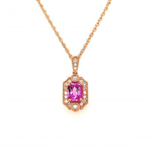 Pink Sapphire Pendant, 14k Rose Gold, Diamonds