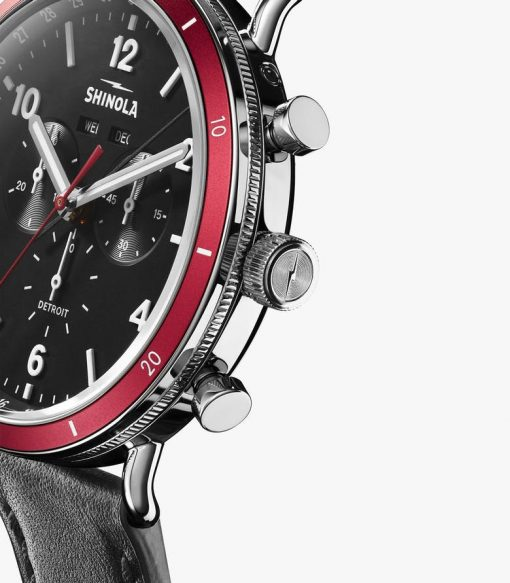 Shinola, Canfield Sport, watch, black and red dial