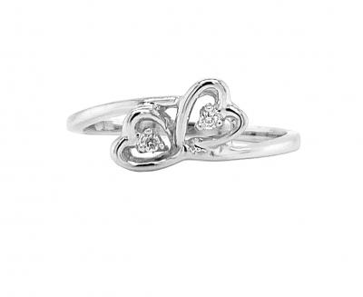 Two heart ring, 14k white gold