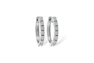 Oblong Diamond Hoop earrings with each diamond set into illusion style heads, each earring has 7 round diamonds, all diamonds totaling .25ct G Color I1 clarity, 14k white gold