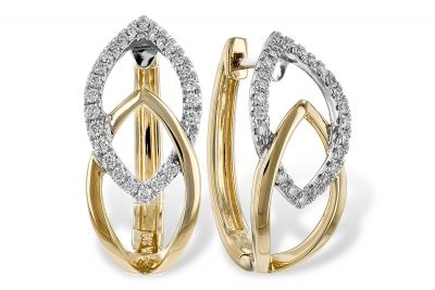 14k Yellow and White Gold hoop style earrings from the Apex Collection with high polish yellow gold interlocking with diamond line white gold, round accenting diamonds totaling .25ct, G SI1/SI2