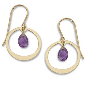 Simple Circle Framed Amethyst Briolette Dangle Earrings on Eurowire, 14k yellow gold