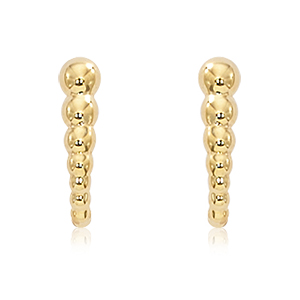 Small post earrings with graduated beads in a slight vertical curve, 14k yellow gold