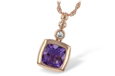 Cushion Bezel 1.20ct Amethyst Pendant with round .04ct bezel set GH SI2 diamond above on 14k rose gold rope chain with lobster clasp, 18 inches