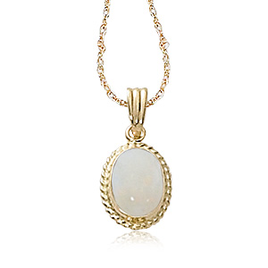 14k Yellow Gold 8x6 Oval White Opal with Rope Border Pendant on 14k Yellow Gold 18 inch Light Rope chain with Spring Ring Clasp