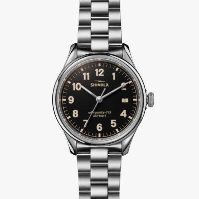 38mm, black dial